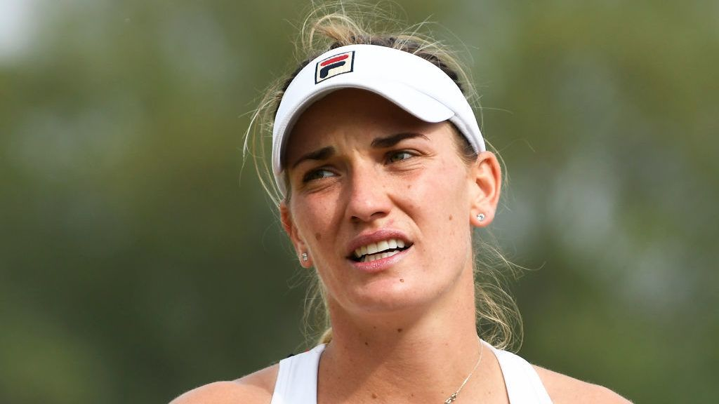 ILKLEY, ENGLAND - JUNE 23: Tímea Babos of Hungary reacts during her women's final against Monica Niculescu of Romania during the Ilkley Trophy - Day Seven at Ilkley Lawn Tennis & Squash Club on June 23, 2019 in Ilkley, England. (Photo by George Wood/Getty Images)