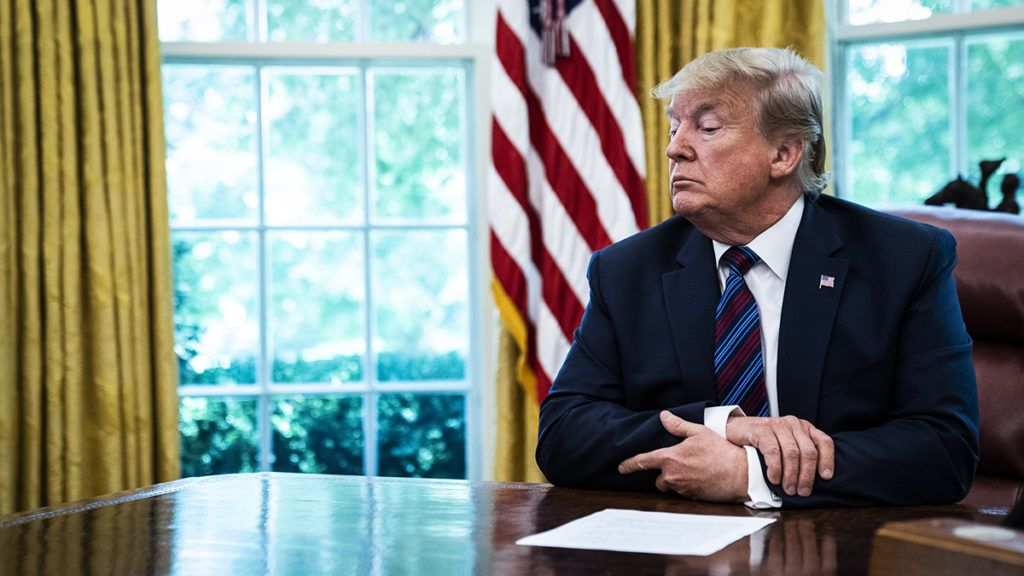 WASHINGTON, DC - JULY 26 : President Donald J. Trump speaks in the Oval Office as Guatemala signs a safe third country agreement to restrict asylum applications to the U.S. from Central America at the White House on Friday, July 26, 2019 in Washington, DC. (Photo by Jabin Botsford/The Washington Post via Getty Images)