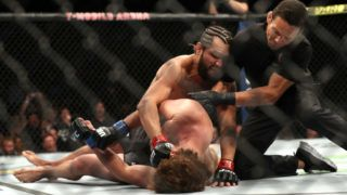 LAS VEGAS, NEVADA - JULY 06:  Jorge Masvidal of the United States knocks out  Ben Askren of the United States during their UFC 239 Welterweight Bout at T-Mobile Arena on July 06, 2019 in Las Vegas, Nevada. (Photo by Sean M. Haffey/Getty Images)