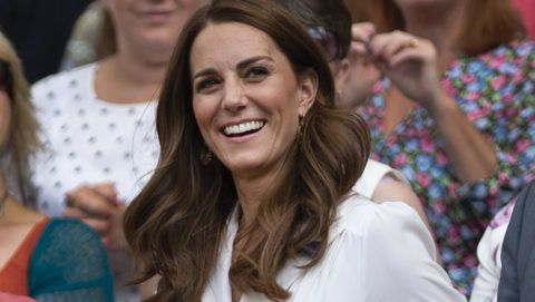 LONDON, ENGLAND - JULY 02: Catherine, Duchess of Cambridge watches the action on Centre Court form the Royal Box during Day Two of The Championships - Wimbledon 2019 at All England Lawn Tennis and Croquet Club on July 2, 2019 in London, England. (Photo by Visionhaus/Getty Images)