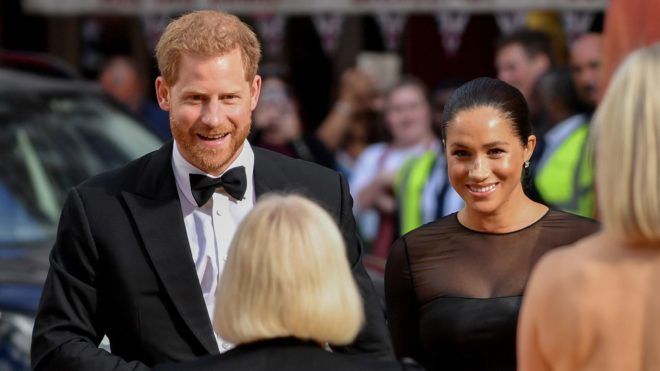 """LONDON, ENGLAND - JULY 14:  Meghan, Duchess of Sussex and Prince Harry, Duke of Sussex attend the European Premiere of Disney's """"The Lion King"""" at Odeon Luxe Leicester Square on July 14, 2019 in London, England. (Photo by Gareth Cattermole/Getty Images for Disney)"""