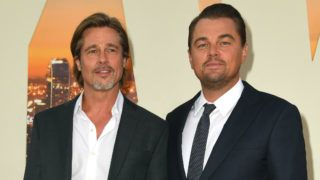 """HOLLYWOOD, CALIFORNIA - JULY 22: Brad Pitt and Leonardo DiCaprio attend the Sony Pictures' """"Once Upon A Time...In Hollywood"""" Los Angeles Premiere on July 22, 2019 in Hollywood, California. (Photo by Kevin Winter/Getty Images)"""