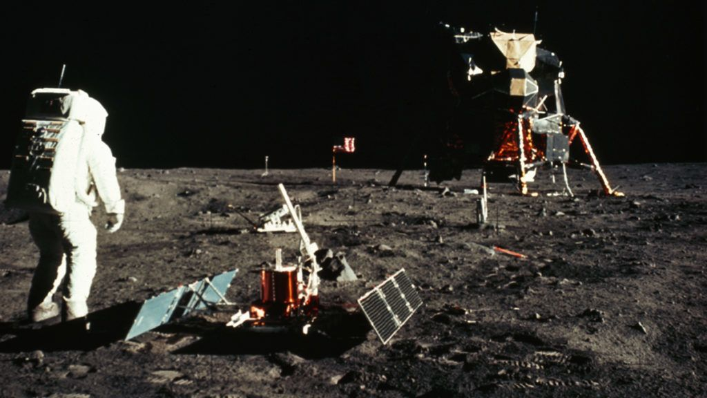 Buzz Aldrin walks by the Passive Seismic Experiment Package (PSEP) on the surface of the Moon during the Apollo 11 mission. (Photo by © CORBIS/Corbis via Getty Images)