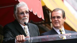 LOS ANGELES, CA - OCTOBER 11:  Director David Hedison (L) honors actor Sir Roger Moore with a Star on the Walk of Fame at 7007 Hollywood Blvd. on October 11, 2007 in Los Angeles, California.  (Photo by Michael Buckner/Getty Images)