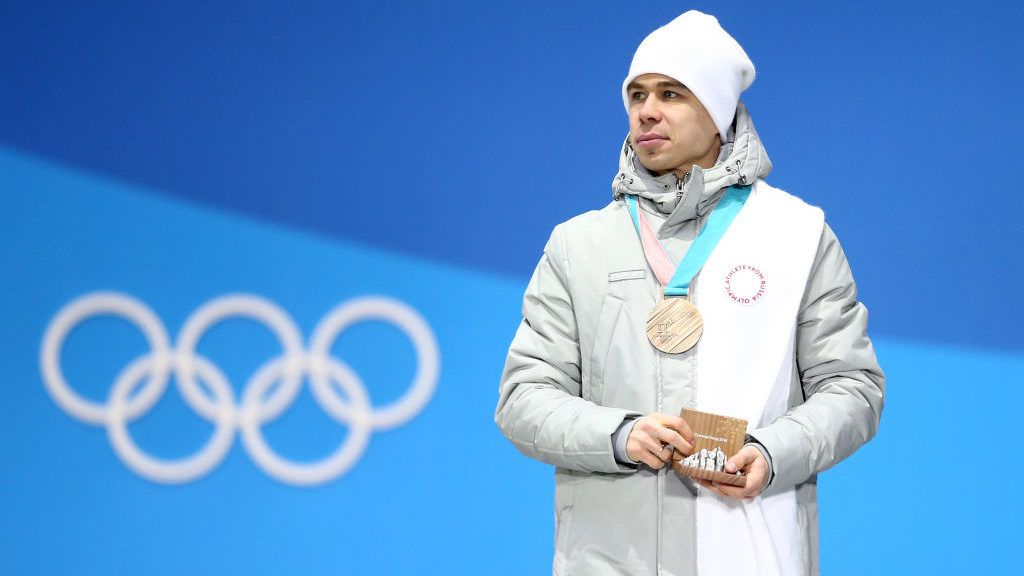 PYEONGCHANG-GUN, SOUTH KOREA - FEBRUARY 11:  Bronze medalist Semen Elistratov of Olympic Athletes from Russia stands on the podium during the Medal Ceremony for the Men's Short Track 1500m on day two of the PyeongChang 2018 Winter Olympic Games at Medal Plaza on February 11, 2018 in Pyeongchang-gun, South Korea.  (Photo by Dan Istitene/Getty Images)
