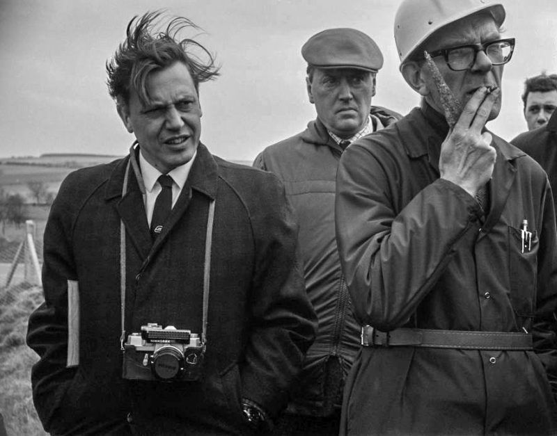 British prehistorian and archaeologist Richard J C Atkinson (1920 - 1994) and British broadcaster and naturalist David Attenborough at Silbury Hill, Wiltshire, UK, 8th April 1968. (Photo by D. Beard/Daily Express/Getty Images)