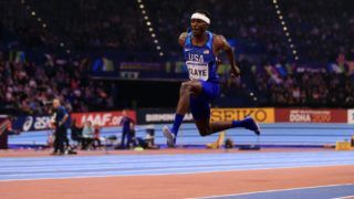 BIRMINGHAM, ENGLAND - MARCH 03:  Will Claye of United States competes in the Triple Jump Mens Final during the IAAF World Indoor Championships on Day Three at Arena Birmingham on March 3, 2018 in Birmingham, England.  (Photo by Stephen Pond/Getty Images for IAAF)
