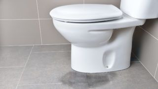 Leakage of water from a toilet due to blockage of the pipe