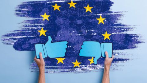 The hands of the European man hold two blue signs of gesture with their thumbs up and out. On a blue background. Close-up.