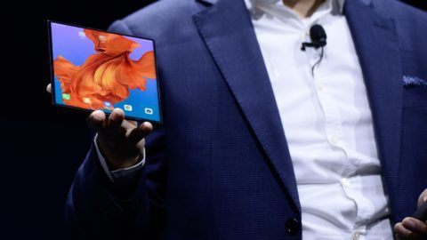BARCELONA, SPAIN - FEBRUARY 26: Richard Yu, the CEO of Huawei's consumer products shows the new Mate X smartphone during the second day at the mobile World Congress 2019 in Barcelona, Spain on February 26, 2019. Adria Puig / Anadolu Agency