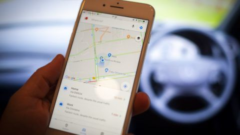 A mobile phone with the Google Maps application is seen in this photo illustration on September 18, 2018. Google is set to partner with the worlds largest car manufacturing group Renault-Nissan-Mistubishi to provide its Android operating system for media screens in their vehicles. (Photo by Jaap Arriens/NurPhoto)