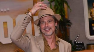 American Actor Brad Pitt poses for photos during the 'Once Upon a Time in Hollywood' film premiere at Toreo Parque Central on  August 12, 2019 in Mexico City Mexico (Photo by Eyepix/NurPhoto)
