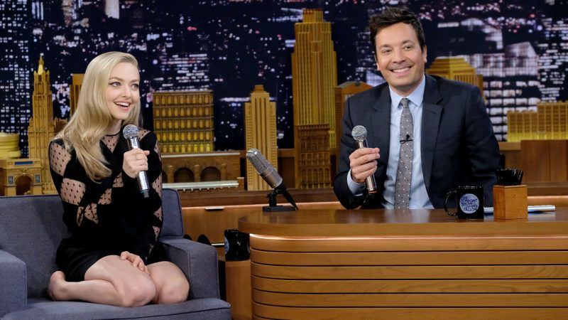 """NEW YORK, NY - JULY 18:  Amanda Seyfried  and host Jimmy Fallon sing during the """"Google Translates Songs"""" segment on """"The Tonight Show Starring Jimmy Fallon"""" at Rockefeller Center on July 18, 2018 in New York City.  (Photo by Jamie McCarthy/Getty Images)"""