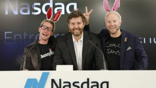 SAN FRANCISCO, CA - AUGUST 06:  Macaulay Culkin (L) and Stewart Miller (R), co-founders of lifestyle media Bunny Ears, are the honorary bell ringers of the Nasdaq Closing Bell from the Nasdaq Entrepreneurial Center on August 6, 2019 in San Francisco, California. They were joined by the graduating class of the Lehigh Startup Academy and Jeff Thomas of Nasdaq (C).  (Photo by Kimberly White/Getty Images for Nasdaq Entrepreneurial Center)