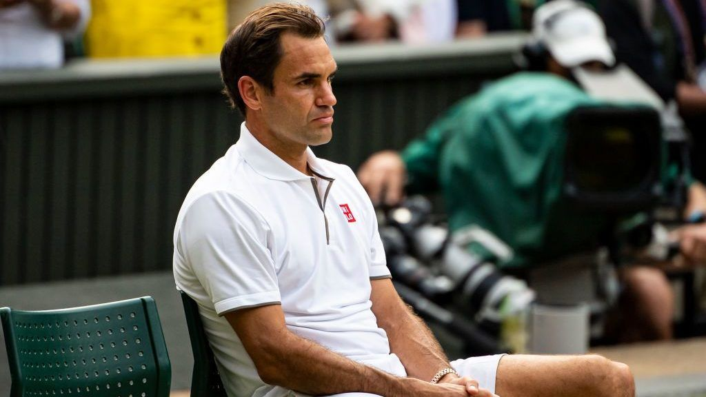 LONDON, ENGLAND - JULY 14:  Roger Federer of Switzerland looks dejected after losing against Novak Djokovic of Serbia during Day 13 of The Championships - Wimbledon 2019 at All England Lawn Tennis and Croquet Club on July 14, 2019 in London, England. (Photo by TPN/Getty Images)