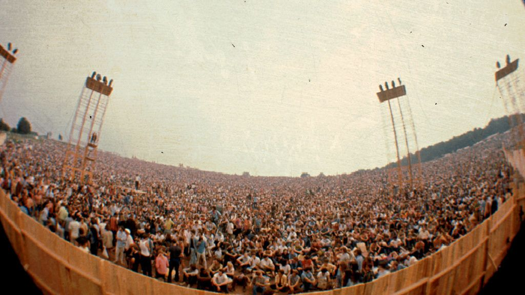 A view of the crowd at the Woodstock Music Festival taken from the main stage, Bethel, NY, August 1969. (Photo by Ralph Ackerman/Getty Images)