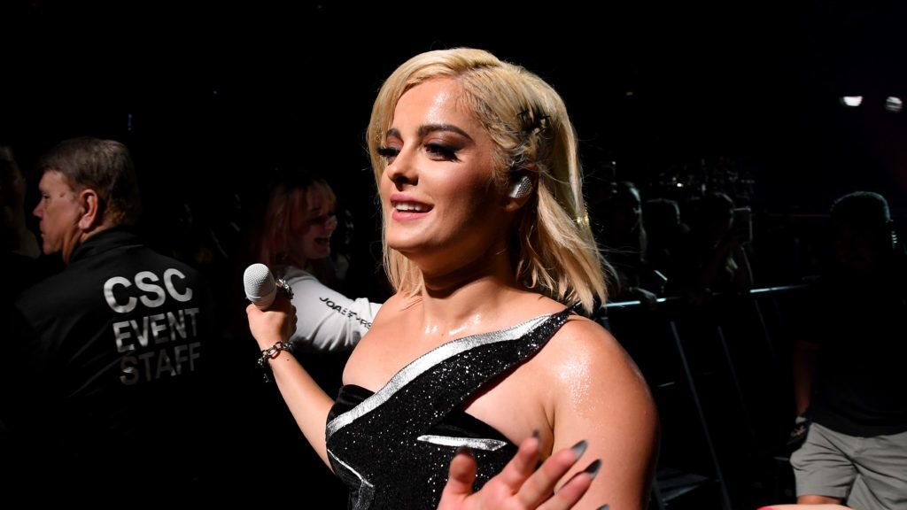 """MIAMI, FLORIDA - AUGUST 07: Bebe Rexha performs during the Jonas Brothers """"Happiness Begins"""" tour opener at American Airlines Arena on August 07, 2019 in Miami, Florida. (Photo by Kevin Mazur/Getty Images for Philymack)"""