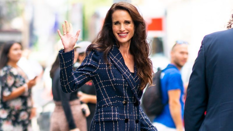 NEW YORK, NEW YORK - AUGUST 22: Andie MacDowell is seen outside the Build Studio on August 22, 2019 in New York City. (Photo by Gotham/GC Images)