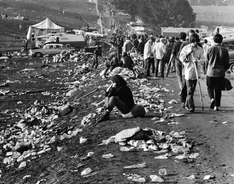 WHITE LAKE, NY - AUGUST 18: The scene on the grounds is pictured at the conclusion of the Woodstock Music Festival in White Lake, NY on Aug. 18, 1969.  (Photo by Daniel Wolf/The Boston Globe via Getty Images)