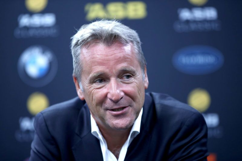 AUCKLAND, NEW ZEALAND - JANUARY 09:  ATP World Tour Executive Chairman and President Chris Kermode speaks to media during day two of the ASB Men's Classic at ASB Tennis Centre on January 9, 2018 in Auckland, New Zealand.  (Photo by Phil Walter/Getty Images)
