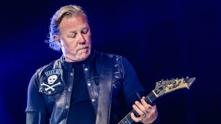 MILAN, ITALY - MAY 08: James Hetfield of Metallica performs on stage at Ippodromo San Siro on May 8, 2019 in Milan, Italy. (Photo by Sergione Infuso/Corbis via Getty Images)