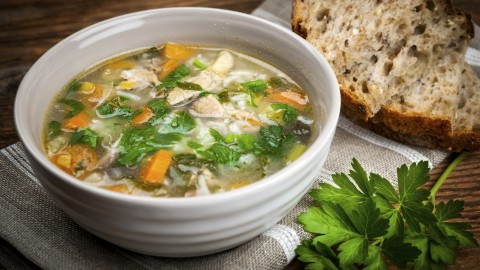 Chicken soup with rice and vegetables