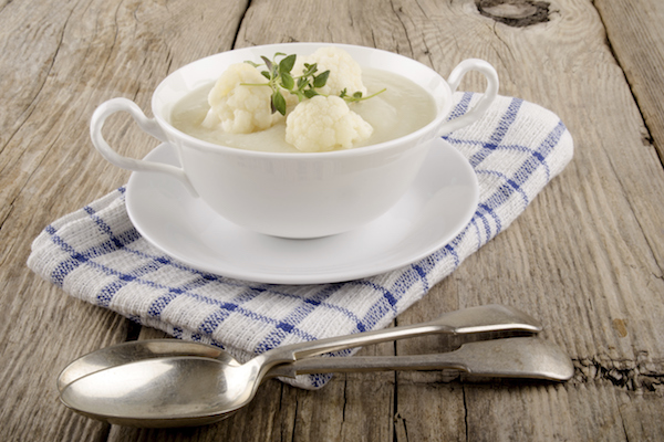 home made cauliflower soup in a white bowl
