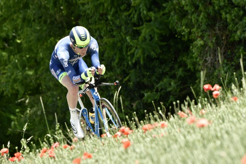 Belgium's Frederik Backaert rides during a 23,5 km individual time-trial, the fourth stage of the 69th edition of the Criterium du Dauphine cycling race on June 7, 2017 between La Tour-du-Pin and Bourgoin-Jallieu. / AFP PHOTO / PHILIPPE LOPEZ