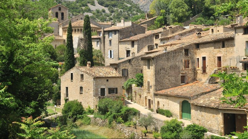 A view of Saint-Guilhem-le-Désert, a very charming village located near Montpellier (South of France).