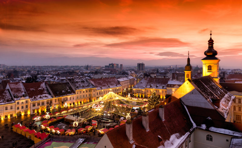 Christmas Market in Sibiu, Transylvania Romania. Beautifull sunset in the heart of Transylvania. City also known as Hermannstadt