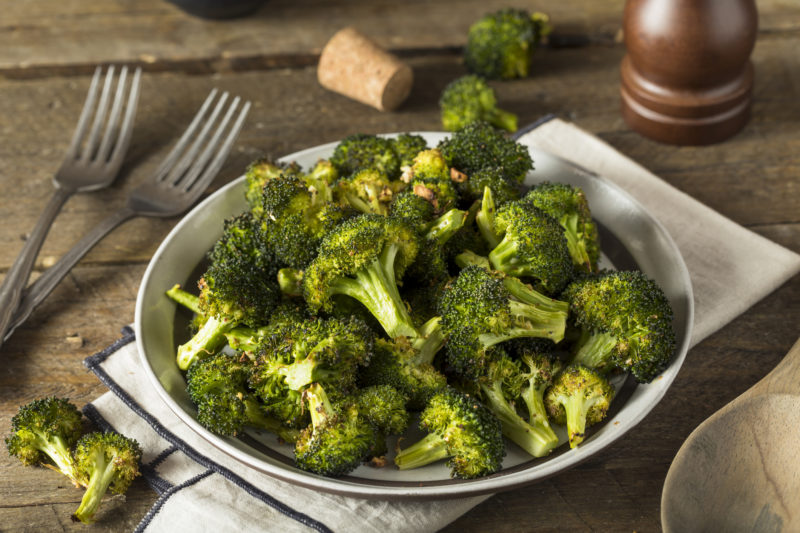 Organic Green Roasted Broccoli Florets with Garlic