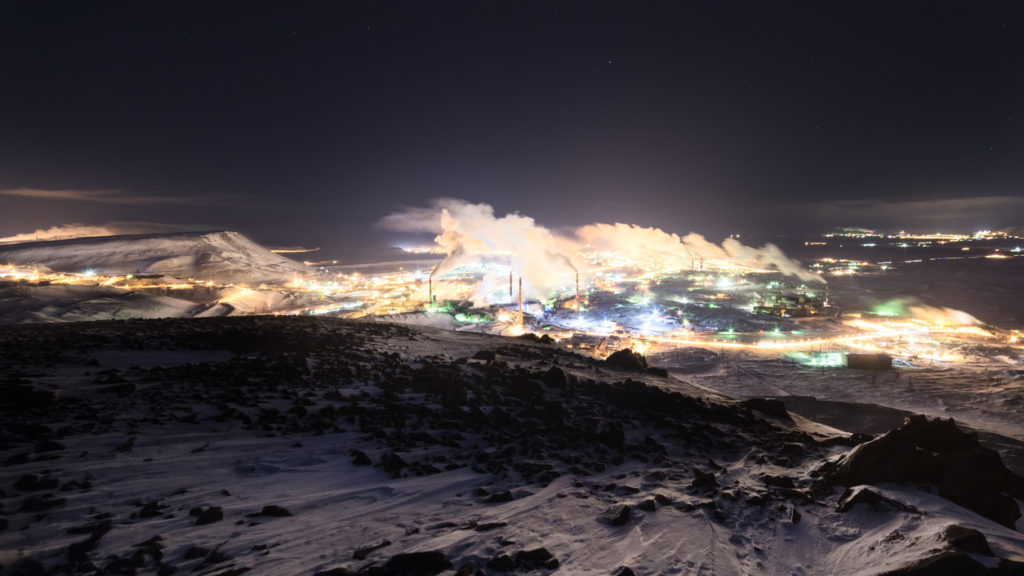 The smoking steel works, view from top of the nearby mountain. Night picture.