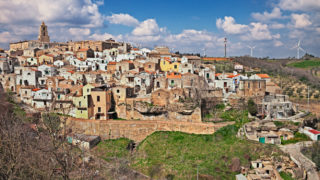 Grottole, Matera, Basilicata, Italy: landscape of the old town on the hill and the countryside