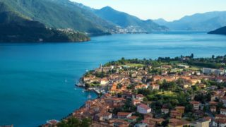View on Town of Gravedona by Lake Como, Italy