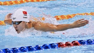 """Chinese swimmer Chen Xinyi competes in a swimming competition in Fuzhou city, southeast China's Fujian province, 22 October 2015.  Chinese swimmer Chen Xinyi has failed a doping test at the Rio Olympic Games, the Chinese Swimming Association (CSA) announced in its statement on Friday (12 August 2016) morning. The 18-year-old Chen tested positive for hydrochlorothiazide, a diuretic, on Aug. 7 after she finished fourth in the 100m butterfly final in 56.72 seconds. Chen has applied to the International Olympic Committee (IOC) for testing of sample B and a hearing to look into the matter, said the CSA. """"The CSA has taken this matter seriously and demanded full cooperation from Chen in the investigation,"""" the CSA said in the statement. """"The CSA resolutely opposes use of banned substances. We will cooperate with the Court of Arbitration of Sport during its investigation and will respect the final ruling by the CAS."""" Chen missed the podium in the 100m butterfly final on Sunday as she came fourth in 56.72 seconds, 0.09 behind bronze medalist Dana Vollmer of the United States. Sweden's Sarah Sjostrom won the event in a world record time of 55.48 with Canadian Penny Oleksiak in second place in 56.46. Chen was previously scheduled to take part in the women's 50m freestyle heats on late Friday morning."""