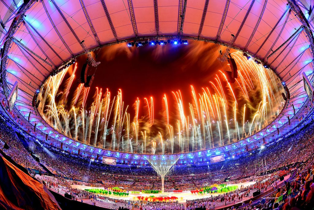 RIO DE JANEIRO, BRAZIL - AUGUST 21:  Fireworks explode above the Maracana Stadium at the end of the closing ceremony of the Rio 2016 Olympic games on August 21, 2016 in Rio de Janeiro, Brazil.  (Photo by Pascal Le Segretain/Getty Images)