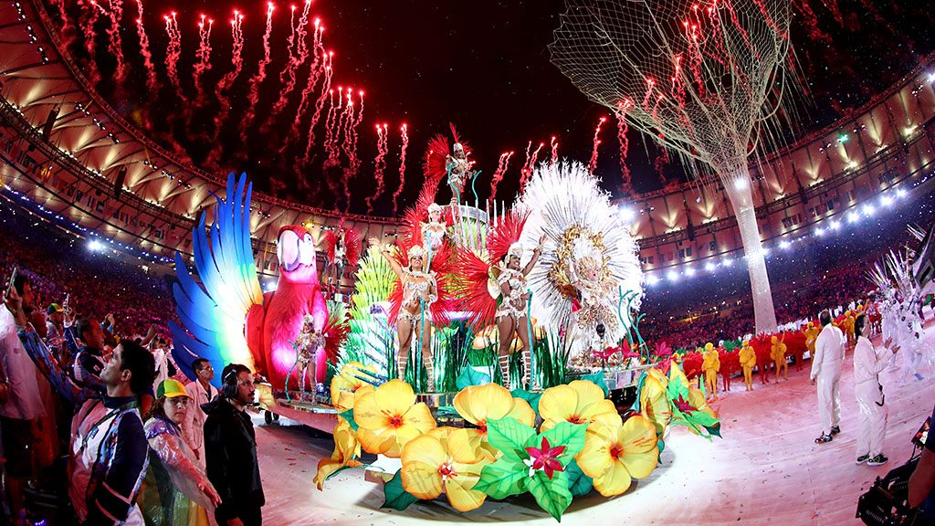 RIO DE JANEIRO, BRAZIL - AUGUST 21:  Carnival singers and dancers perform as fireworks explode near the conclusion of the Closing Ceremony on Day 16 of the Rio 2016 Olympic Games at Maracana Stadium on August 21, 2016 in Rio de Janeiro, Brazil.  (Photo by Ezra Shaw/Getty Images)