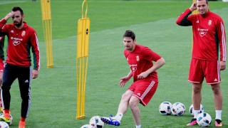 Hungary's players midfielder Zoltan Gera (C), passes the ball with midfielder Attila Filola (L) and defender Roland Juhász (R) during a training session at the Hungarian Football Federation training center in Telki village on May 19, 2016 on the eve of their pre-EURO 2016 friendly football match against Ivory Coast. / AFP PHOTO / ATTILA KISBENEDEK