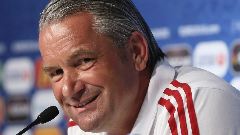 """This UEFA handout image taken on June 25, 2016 in Toulouse shows Hungary's coach Bernd Storck attending a press conference on the eve the Euro 2016 football match Hungary against Belgium. / AFP PHOTO / UEFA / Handout / RESTRICTED TO EDITORIAL USE - MANDATORY CREDIT """"AFP PHOTO / UEFA"""" - NO MARKETING - NO ADVERTISING CAMPAIGNS - DISTRIBUTED AS A SERVICE TO CLIENTS"""