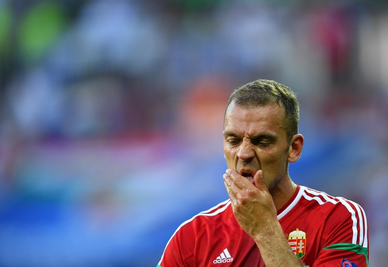 Hungary's Roland Juhasz reacts during the UEFA Euro 2016 Group F soccer match between Hungary and Portugal at the Stade de Lyon in Lyon, France, 22 June 2016. Photo: Uwe Anspach/dpa (RESTRICTIONS APPLY: For editorial news reporting purposes only. Not used for commercial or marketing purposes without prior written approval of UEFA. Images must appear as still images and must not emulate match action video footage. Photographs published in online publications (whether via the Internet or otherwise) shall have an interval of at least 20 seconds between the posting.)