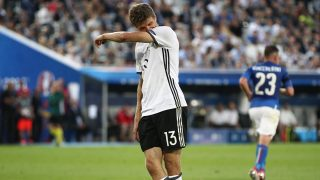 Thomas Muller of Germany dejected after missing a good chance for scoring goal during the UEFA Euro 2016, Quarter Final football match between Germany and Italy on July 2, 2016 at Matmut Atlantique Stadium in Bordeaux, France - Photo Michael Zemanek / Backpage Images / DPPI