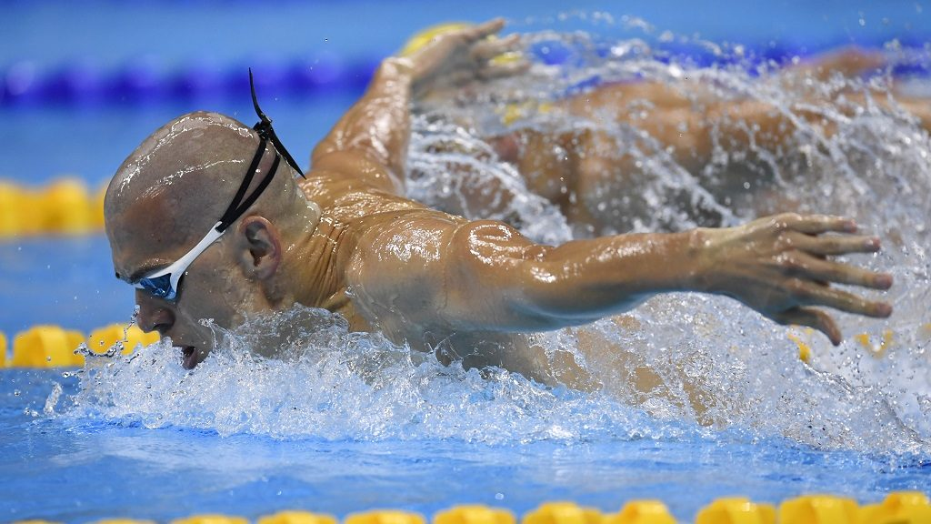 Hungary's Laszlo Cseh competes in the Men's 200m Butterfly Semifinal during the swimming event at the Rio 2016 Olympic Games at the Olympic Aquatics Stadium in Rio de Janeiro on August 8, 2016.   / AFP PHOTO / CHRISTOPHE SIMON