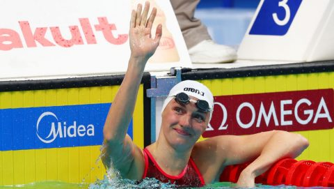 BUDAPEST, HUNGARY - JULY 23:  Katinka Hosszu of Hungary celebrates victory during the Women's 200m Individual Medley heats on day ten of the Budapest 2017 FINA World Championships on July 23, 2017 in Budapest, Hungary  (Photo by Clive Rose/Getty Images)