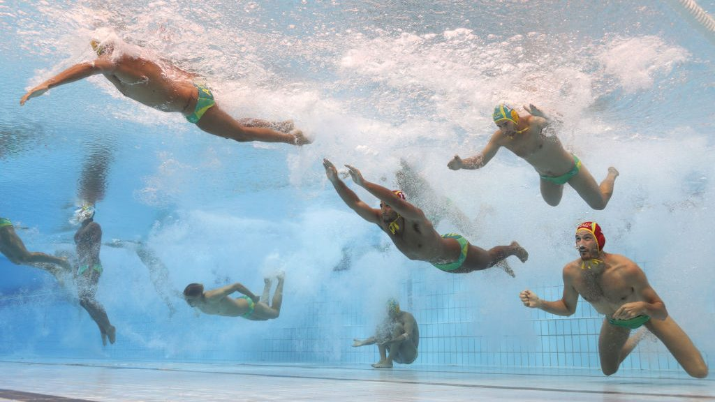BUDAPEST, HUNGARY - JULY 25:  Australia enter the pool during the Men's Water Polo quarter final between Serbia and Australia on day twelve of the Budapest 2017 FINA World Championships on July 25, 2017 in Budapest, Hungary.  (Photo by Clive Rose/Getty Images)