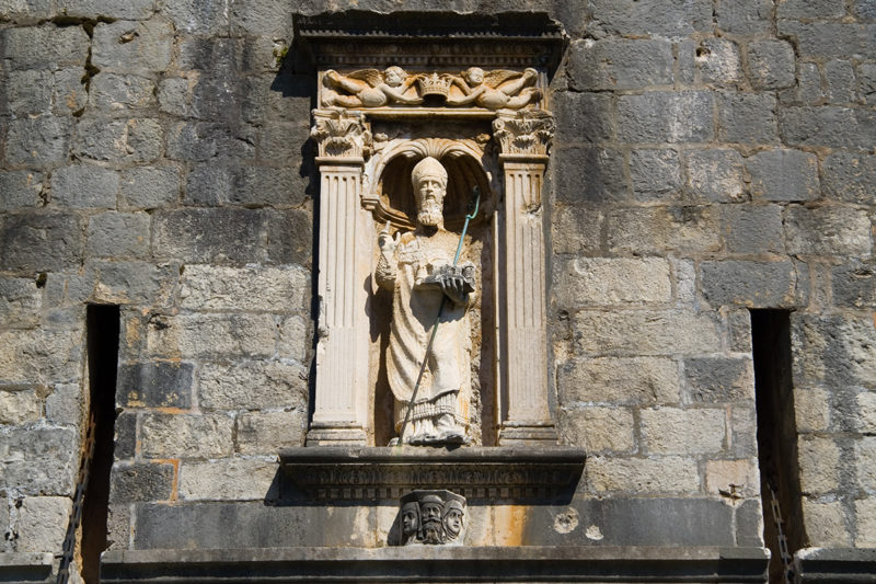 A statue of St-Blaise at the entrance of the old city of Dubrovnik