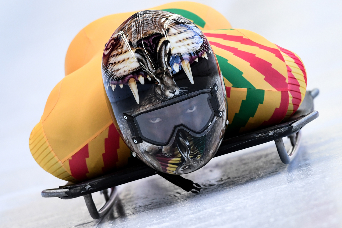 Ghana's Akwasi Frimpong takes part in a training session for the men's skeleton event at the Olympic Sliding Centre, during the Pyeongchang 2018 Winter Olympic Games in Pyeongchang, on February 11, 2018. / AFP PHOTO / Kirill KUDRYAVTSEV