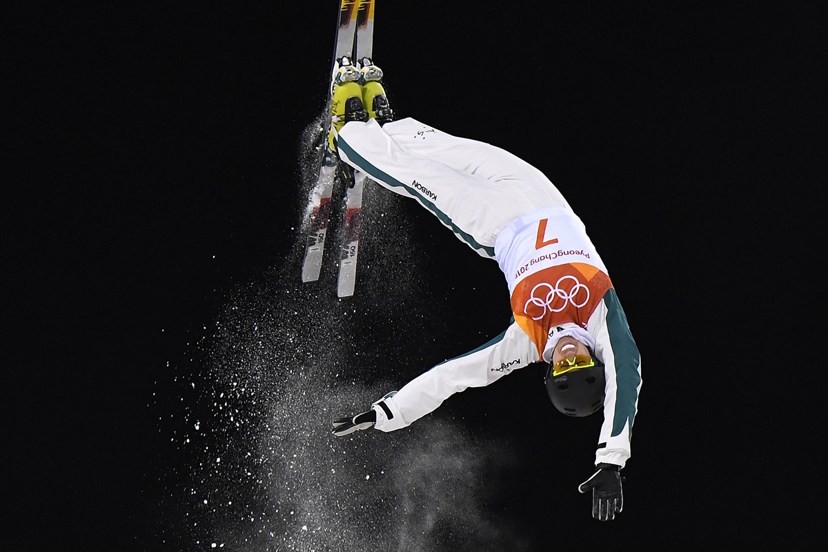 Australia's Laura Peel competes in the women's aerials qualification event during the Pyeongchang 2018 Winter Olympic Games at the Phoenix Park in Pyeongchang on February 15, 2018. / AFP PHOTO / LOIC VENANCE