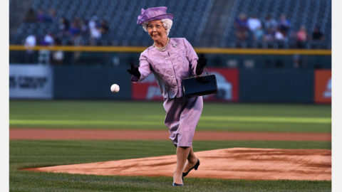 Sep 12, 2018; Denver, CO, USA; General view as an actor protraying Queen Elizabeth II of England delivers a pitch before the game between the Arizona Diamondbacks against the Colorado Rockies at Coors Field. Mandatory Credit: Ron Chenoy-USA TODAY Sports