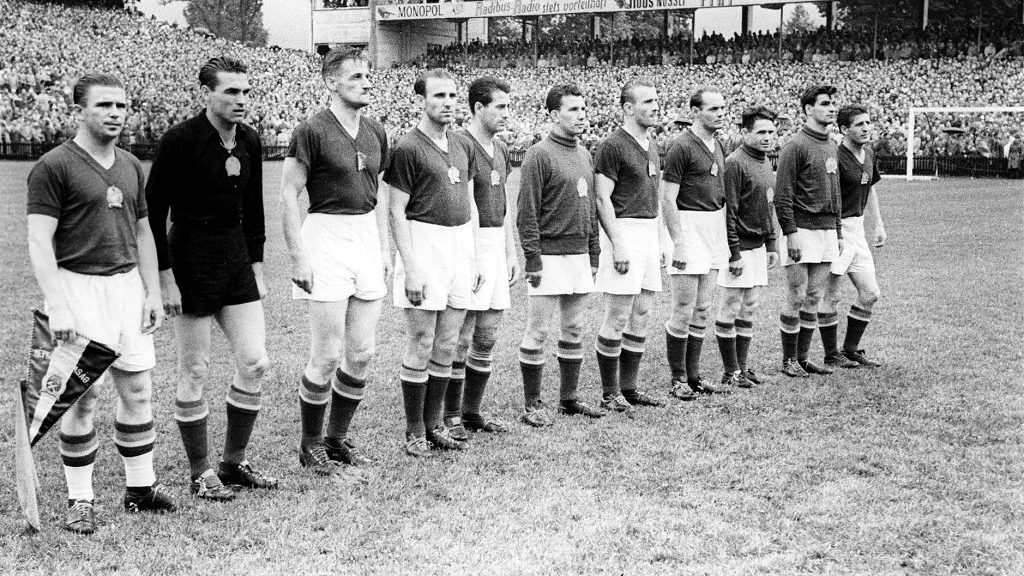 Formation of Hungary's national football team prior to the 1954 FIFA World Cup final against Germany: Ferenc Puskas, Gyula Grosics, Gyula Lorant, Nandor Hidegkuti, Jozsef Bozsik, Jozsef Zakarias, Mihaly Lantos, Jenö Buzanski, Mihaly Toth, Sandor Kocsis and Zoltan Czibor.