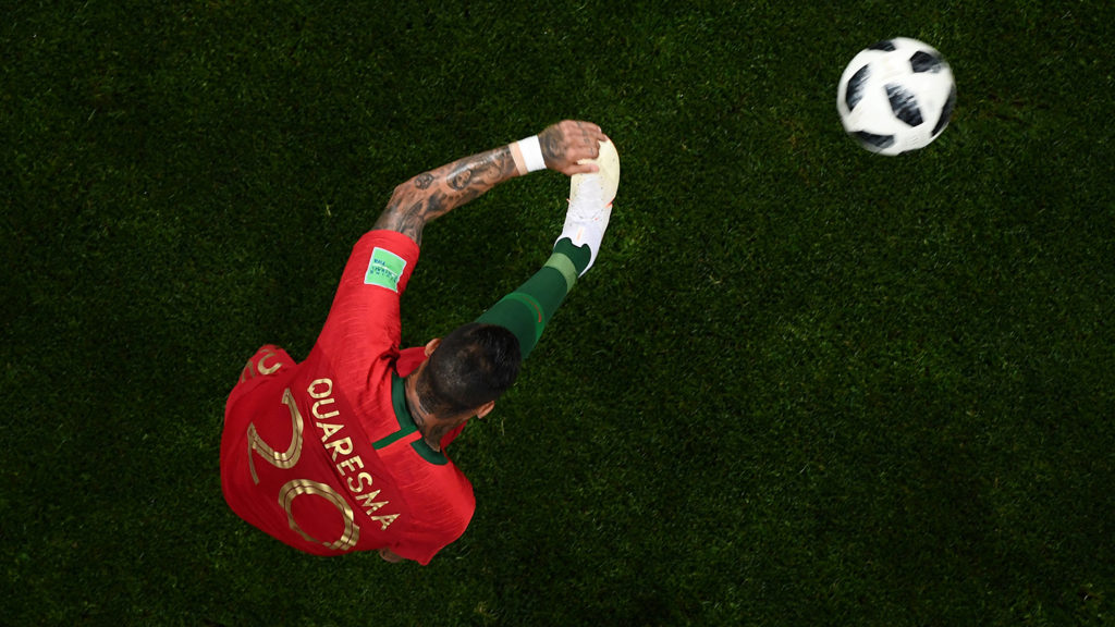 Portugal's forward Ricardo Quaresma kicks the ball during the Russia 2018 World Cup Group B football match between Portugal and Spain at the Fisht Stadium in Sochi on June 15, 2018. / AFP PHOTO / Jewel SAMAD / RESTRICTED TO EDITORIAL USE - NO MOBILE PUSH ALERTS/DOWNLOADS